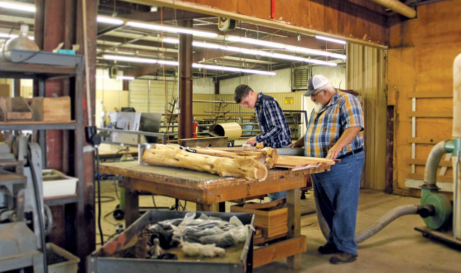 Photo of Steve Kruse teaching with items donated by Mr. Embry